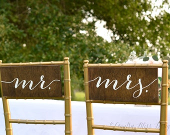 mr and mrs sign, mr and mrs chair sign, wedding chair signs,  bride and groom chair sign, wedding chair decor, mr and mrs table signs