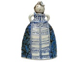 """Ceramic Sculpture  """" Girl In A Blue And White Dress """" , Girl's Room Decor , Woman Figure"""