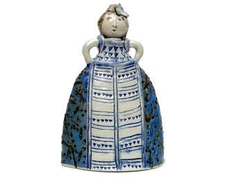 """Ceramic Sculpture , Woman ,  """" Girl In A Blue And White Dress """" , Girl's Room Decor ,Figurine"""
