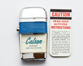 Scripto Compact Vu Lighter, Unused in Original Box with Instructions, 60's Rare Collectible Lighter, Calsonair Inc. Serving Aviation