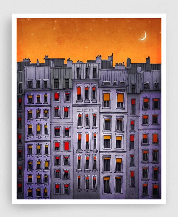 Sleepy houses - Fine art illustration Paris Art Print Posters Home decor Wall decor Gift ideas for her Living room decor Purple Architecture