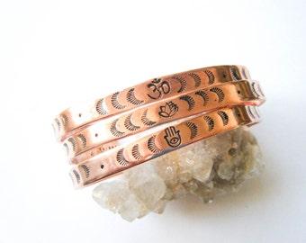 The Protectors // Sacred Symbols Bracelet, Hamsa, Lotus, Om, Yoga Bracelet