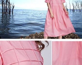 linen dress in pink, midi linen dress, linen kaftan, Boho Wedding Dress, plaid dress, oversized linen dress, linen tunic dress, maxi dress