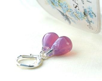 Pink Drop Earrings, Glass Earrings, Pink Earrings, Glass Bead Earrings, Teardrop Earrings, Beaded Dangle Earrings, Silver Leverback Earrings