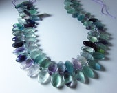 Natural Fluorite Paraiba Fluorite Marquise Briolette Beads 17mm - 18mm x 9mm