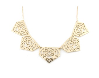 Gorgeous Gold-tone Hollow Plate Funky Statement Necklace,A14