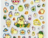 Kawaii Japan Sticker Sheet Assort: Yellow 2015 Pom Pom Purin Stickers Japanese Holographic Summer Beach Surfing with Silver Details