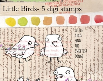Little Birds - five digi stamp set available for instant download in jpg and png files