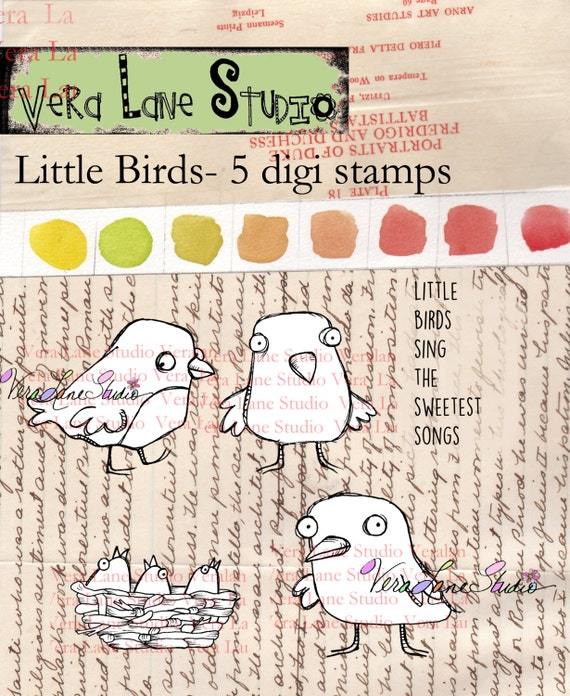 Little Birds - five digi stamp set available for instant download
