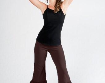 Yoga bloomers-womens bloomers-black pants-ruffle pants-ruffle yoga women-capri bloomers-sexy pants-boho yoga-black yoga pants-belly dance