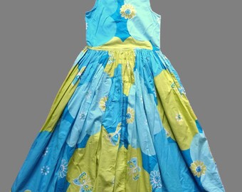 Vintage 80's Butterfly / Floral Print Dress UK Size 6