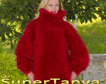 Thick and fuzzy hand knitted mohair sweater in red by SuperTanya