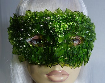 Poison Ivy Lucite Leaves Masquerade Mask