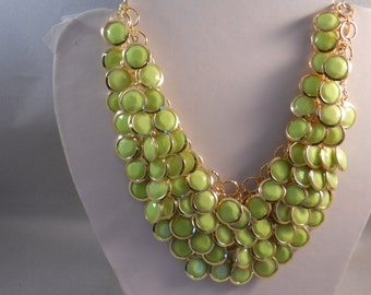 3 Row Bib Necklace with Light Green and Gold Beads on a Gold Tone Chain