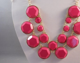 2 Row Pink and Gold Tone Bead Pendants on a Gold Tone Chain