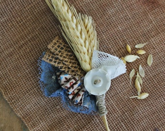 Rustic Wheat + Vintage Button Boutonniere // Country Wedding Wheat and Cotton Boutonniere //  Custom Made