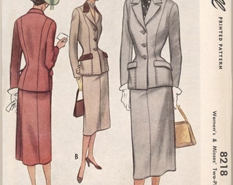 Factory Folded Vintage 1950 McCall Pattern 8218 Ladies Suit Bust 34