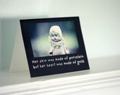 "Stationary Adventures of Claudia Porcelain Doll Card ""Heart of Gold"" Porcelain Quirky Funny Doll Photography Notecard"