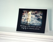 "Adventures of Claudia The Porcelain Dolly ""Standing in The Stream Left Her Longing"" Travel Stationary Doll Card"
