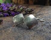 Swirled Silver Earrings. Etched Sterling Silver Scrollwork Pattern Post Earrings. Artisan Jewelry. Square Beveled Earrings.
