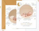 SALE Birth Announcement Template, Birth Announcement Template Boy, Photography Templates, Birth Announcement Card for Photoshop 5x7 - BA177