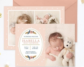 Birth Announcement Template, Newborn Announcement Template, Birth Announcement Girl, Birth Announcement Card Template Photoshop - BA183