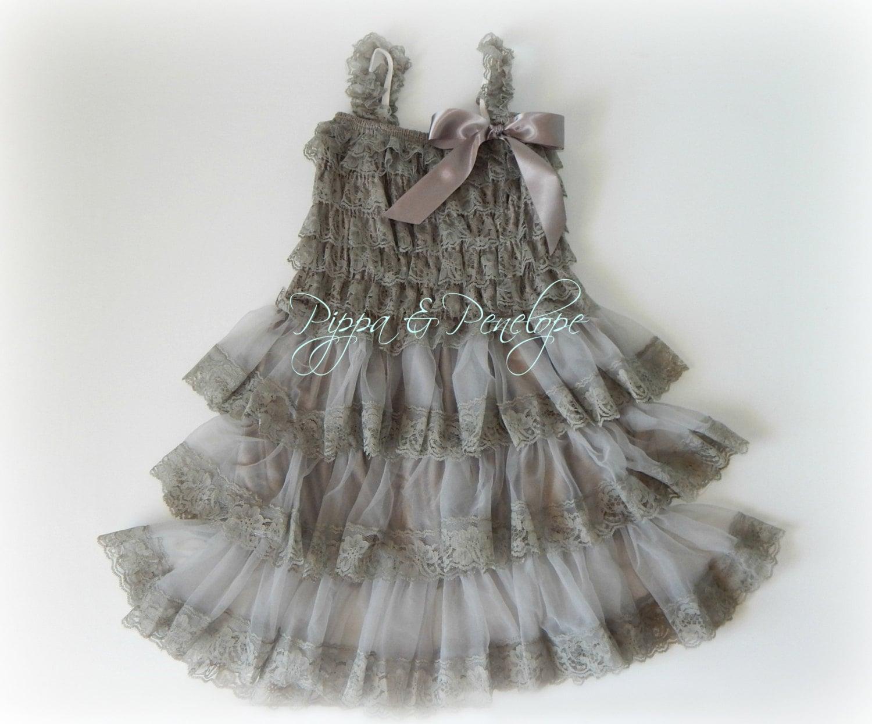 Gray Flower Girl Dress Lace Dress Rustic by PippaAndPenelope