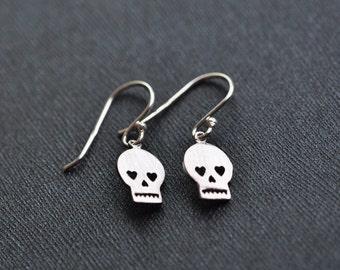 Skull Earrings - Silver Skull Earrings - Small Dangle Sugar Skull Earrings - Halloween Jewelry - Gift For WOmen - Aldari Jewelry Designs