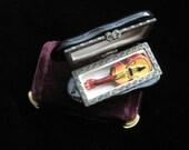 Violin Trinket Box Vintage Musician Musical Viola Case Miniature Porcelain Decorative Hand Painted Collectible Music Lover Treble Clef