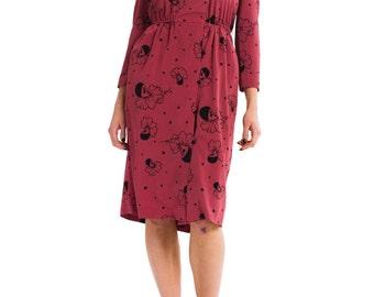 1980s Vintage Chic Playful Rose Clown Print Dress   Size: XS