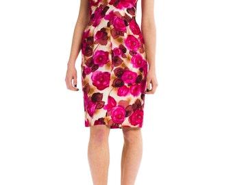 1950s Vintage Vibrant Rose Print Beaded Silk Dress  Size: XS/S