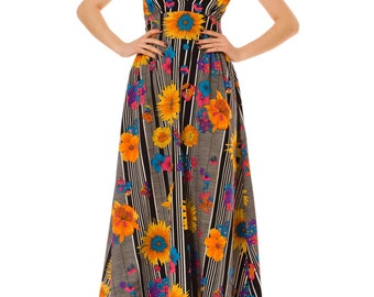 1970s Vintage Sunshine Halter Dress  Size: S/M