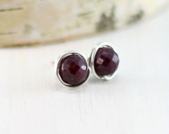 Ruby Stud Earrings, Sterling Silver Genuine Ruby Earrings Wire Wrapped Large Ruby Post Earrings July Birthstone Jewelry