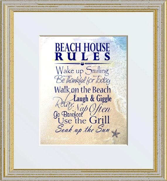 """Beach Sign Saying Quote """"BEACH HOUSE RULES"""" Beach Ocean ..."""