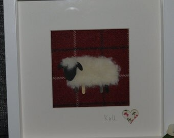 Woolly Sheep on Tweed (black faced sheep) Framed Gift