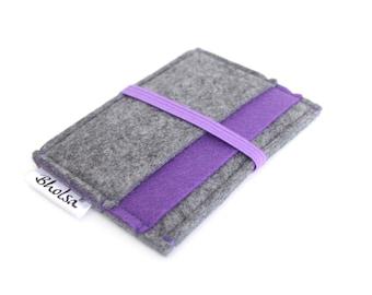 Card Organizer/ Card Wallet/ Felt Wallet/ Small Wallet/ Card Wallet Organizer- Charcoal Grey & Royal Purple