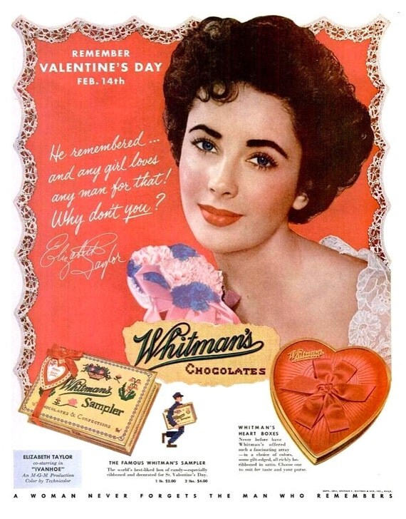 1952 Elizabeth Taylor Whitman's Chocolates Sampler Old Hollywood Valentine's Day Sweetheart Valentine Candy Confectionery Decor Red Wall Art