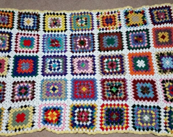 Granny Square Afghan 66in X 48in -  READY TO SHIP