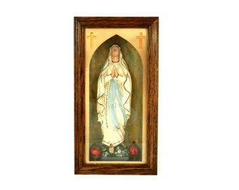 Blessed Mother Chalk Ware Statue in Original Shadowbox Shrine from Depression Era