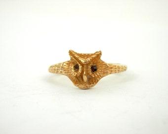 14K Gold Owl Ring Retro 80's Woodland Creature Jewelry sz 6 1/2