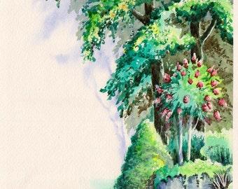 Summer in the Garden - original watercolor painting, trees, tree, bushes, flowers, bloom, rocks, green, landscape, art