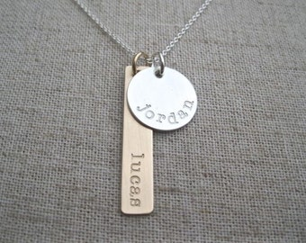 Personalized Name Necklace - Two Hand Stamped Name Charms in Mixed Metals - Mother's Necklace