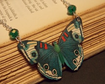 Teal Blue Wooden Butterfly Necklace