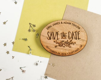 SAMPLE Wood Save the Date Magnet - one sample magnet - save the date invitations - wedding save the dates - custom save the dates - magnet