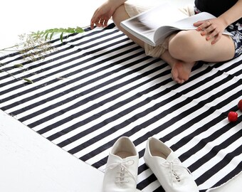 Stripe Oxford Cotton Fabric - Black and White - By the Yard 79648