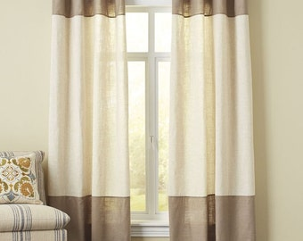 Curtains Ideas colorblock curtains : Tri-colorblock curtain panel shown in white gray and mustard