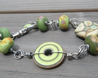 Spring Greens Bracelet  // Organic Lampwork Bracelet // Oxidized Sterling Silver