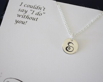 11 Personalized Initial Charm Bridesmaid Necklace, Large Initial Charm, Monogram Silver Charm, Bridesmaid Jewelry, Initial Tag, Card, Gift