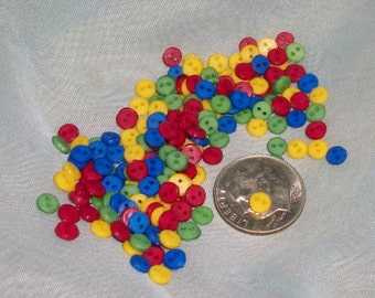 4mm 2-hole Tiny Doll Buttons, Primary Mix, Wholesale--400+ pieces