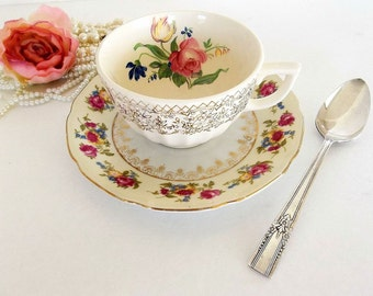 Mismatched Teacup Saucer & teaspoon trio, vintage shabby pink roses tea cup saucer, silver plated spoon, tea party set, cottage chic